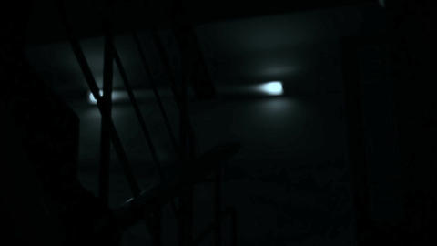 Scary dark staircase, flashes of light at night, horror film Footage
