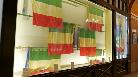 Museum banners Navy. Vittoriano. Rome, Italy Footage