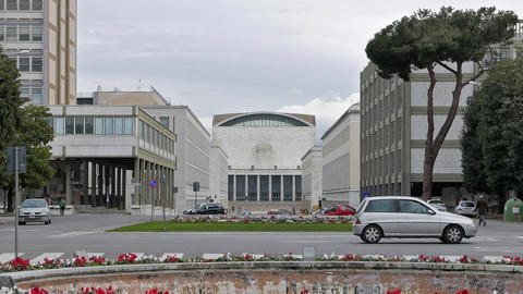 Palace of Congresses. EUR district. Rome, Italy Live Action