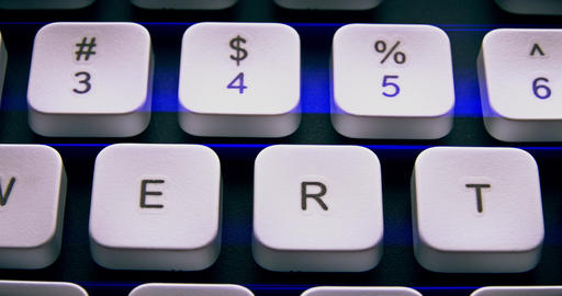 1080p English PC Keyboard Keys Macro Footage