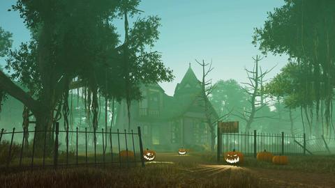 Halloween pumpkins near spooky haunted house Footage