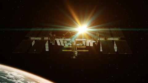 International Space Station Rotates Solar Panels On Background Of Rising Sun GIF