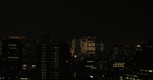 A night cityscape at the urban city in Tokyo long shot Live Action