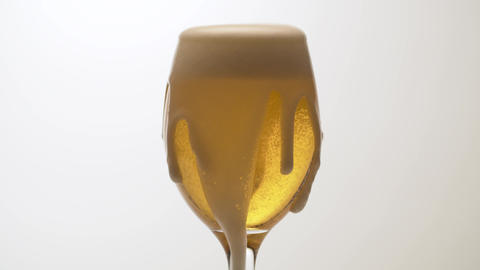 Beer's froth rising in a glass Live Action