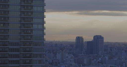 A dusk panoramic cityscape at the urban city in Tokyo long shot Live Action