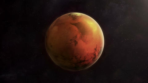 The planet Mars is spinning in a dark space Animation