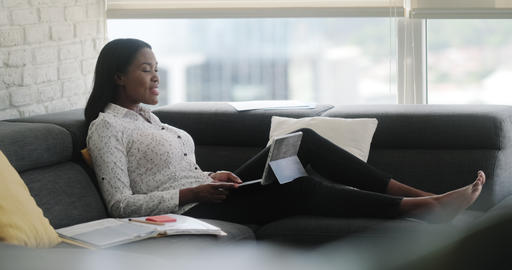 8 Web Conference For Happy Black Woman Working From Home Live Action