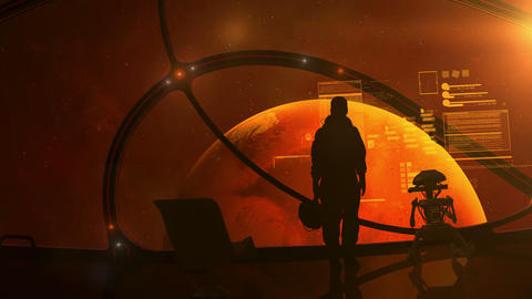 The astronaut is standing at the porthole of a ship approaching Mars Animation