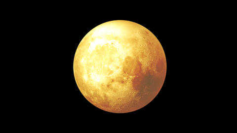 Yellow moon looped rotation on transparent background Animation