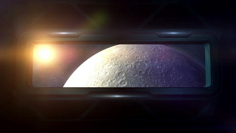 The moon is visible from the porthole of a spaceship Stock Video Footage