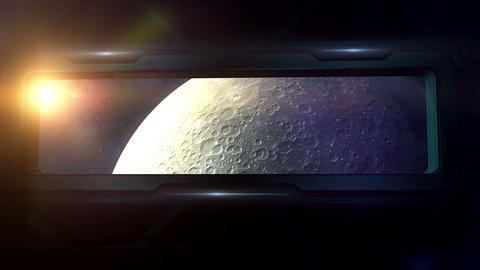 The moon is visible from the porthole of a spaceship Animation