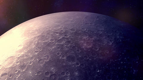 The camera flies over the hemisphere of the moon Animation