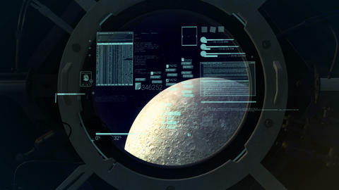 Infographics on the background of the porthole with the moon overboard Animation