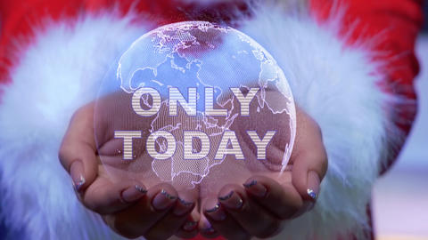 Hands holding planet with text Only today Live Action