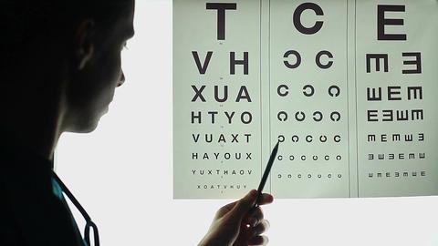 Taking vision test, optometrist eye checkup, ophthalmology Footage