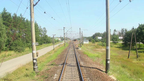 Front car view from the fast-moving train, time-lapse, railroad Footage