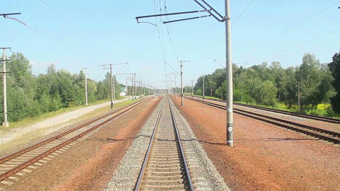 Moving train view from front car, transportation, railway road Footage