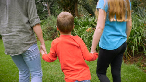 A mother and her son and daughter hold hands as they walk through the grass - sl Footage