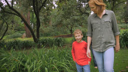 A mother brings her son to the rest of her family of 5 and walks in a park to jo Footage