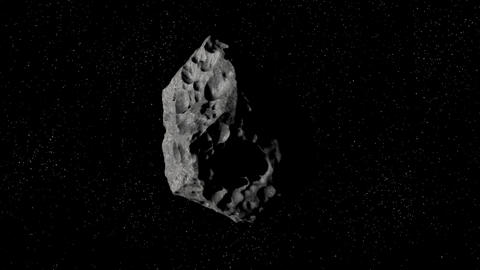 Asteroid flies in space Animation