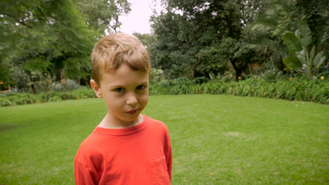 Profile of a young boy looking mischievous, innocent, or guilty - slowmo handhel Footage