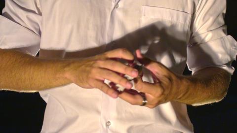 Closeup Conjurer Hands Shuffle Cards into Fan Footage