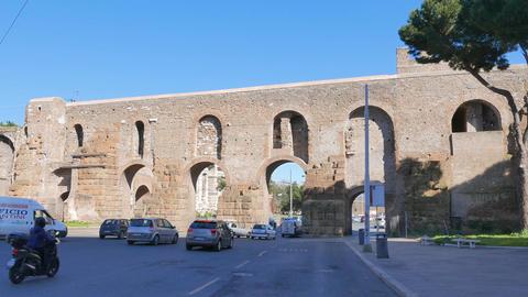 Aurelian Walls. Via Eleniana. Rome, Italy Footage