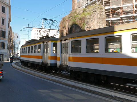 Tram with three wagons, Rome. Italy Footage