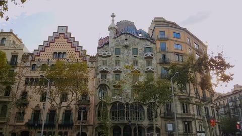 Barcelona, Spain - 25 September 2016: Casa Batllo by Anthoni Gaudi façade Footage