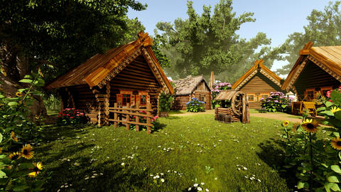 Fairytale wooden house and courtyard, Stock Animation