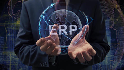Male hands activate hologram ERP Live Action