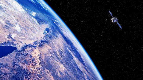 Space Satellite Exploring The Surface Of The Earth GIF