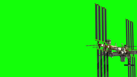 Flight Of International Space Station. Green Screen GIF