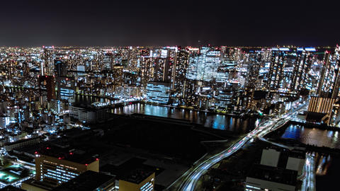 4K Tokyo city intersection time lapse traffic people cityscape night view Live Action