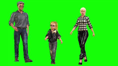 571 4k 3d animated avatar family mother father daughter walking runnig and talking Animation