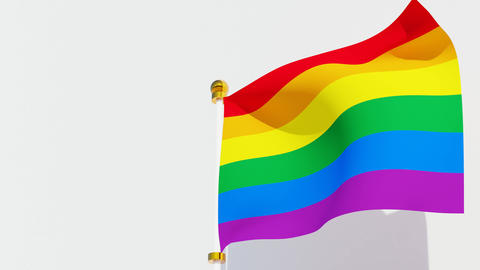 Waving rainbow pride flag. Symbol flag of LGBT,gender and sexual diversity Animation
