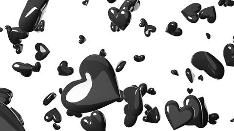 Falling black heart objects in white background. Cool heart-shape abstract animation Animation