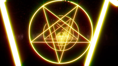 Tunnel of Satan's Red Stars. Vintage engraving. Mystic circle pentagram. Mystic Live Action