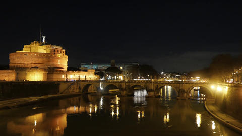 Castle Sant'Angelo, Reflection in the Tiber, Night. Rome. Italy Footage