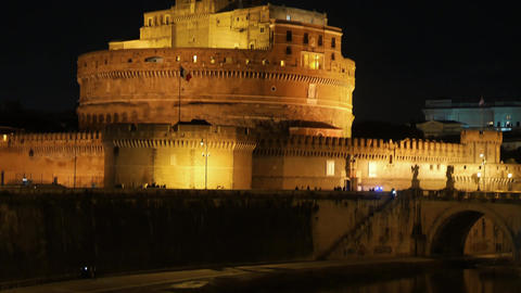 Sant'Angelo, on the banks of the Tiber. Night. Rome. Italy Footage