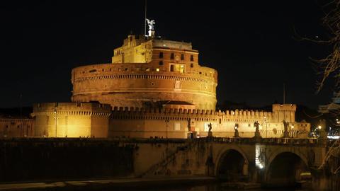 Sant'Angelo, Night. Bridge over the Tiber, Rome. Italy Footage