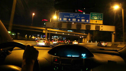 Cars driving on the road at night. The view from the vehicle cab Footage
