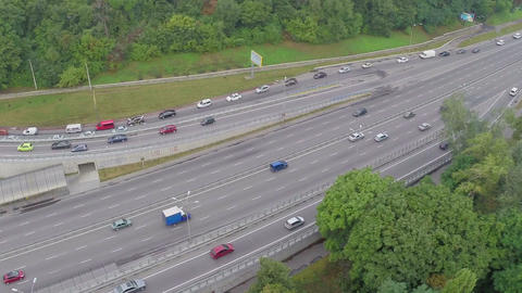 Aerial view cars driving slowly in traffic jam, rush hour Footage