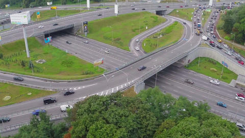 Aerial freeway packed with cars, rush hour, heavy traffic jam Footage