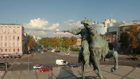 Statue of man on horse, city architecture, landmark aerial Footage