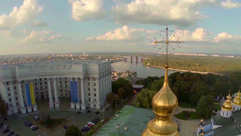 Aerial view of Kyiv. Church, crosses and Ukrainian Parliament Footage