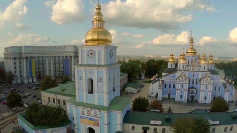 Majestic aerial view of the city. Church, buildings, landmarks Footage