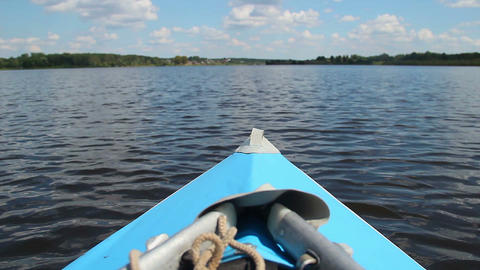 Boat moving through water, traveling, active rest, canoe, kayak Footage