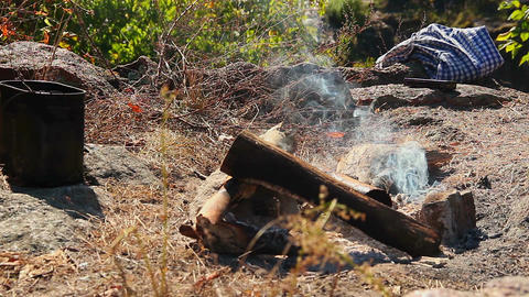 Smoke above campfire, stack of firewood, traveling, tourism Footage