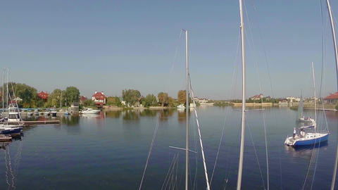 Sailboats in the small harbor, yacht maintenance and repairs Footage